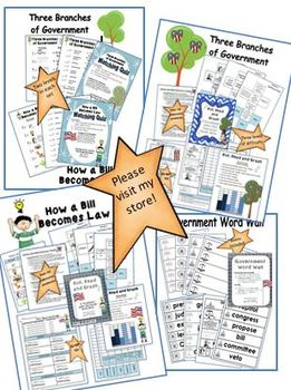 5 Pack Government Vocabulary Games Quizzes and Word Wall