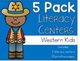 5 Pack Literacy Centers: Western Kids