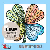 5 Pack Shamrock Line Drawing Worksheet for Elementary/Middle Grades