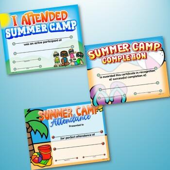 summer camp certificates by dp sharpe teachers pay teachers