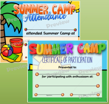 summer camp certificates by dp sharpe teachers pay teachers