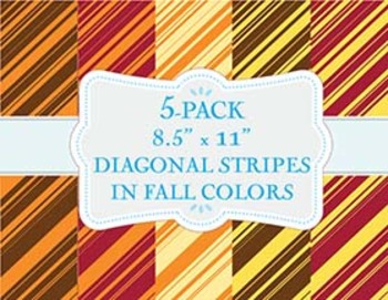 """5-Pack of 8.5"""" x 11"""" Diagonal Patterns in Fall Colors"""