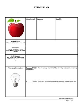 5- Page Lesson Plan Template for ANY Grade Level and Subject Area!