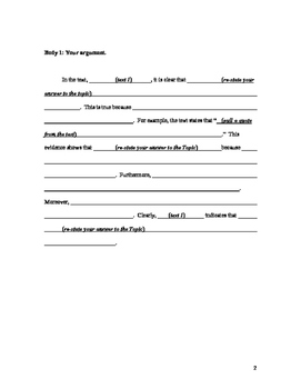 5-Paragraph Argumentative Essay Template