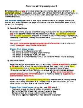 5-Paragraph Cause & Effect and Persuasive Writing Assignments