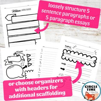 5 Paragraph Essay Template or Paragraph Graphic Organizer ELA Doodle Notes