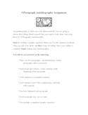 5 Paragraph Essay / Autobiography Assignment with Rubric