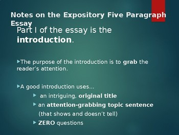 5-Paragraph Essay Guided Notes Power Point Presentation