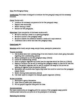 5 paragraph essay lesson plans