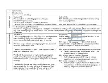 5 Paragraph Essay Lesson Plan