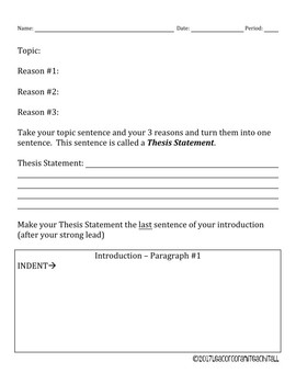 5 Paragraph Essay Organizer