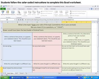 5 Paragraph Essay Organizer - on Excel so it almost writes itself!