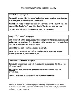 5 Paragraph Essay Planning Guide and Planning Sheet