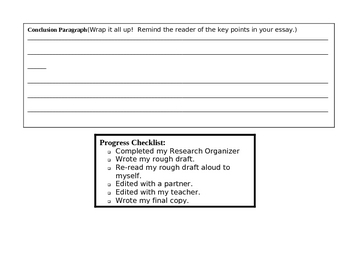 5-Paragraph Essay Research Organizer