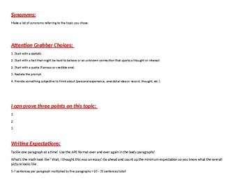 5 Paragraph Essay Resources