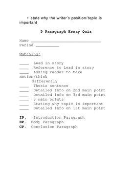5 Paragraph Essay Rubric/Assessment
