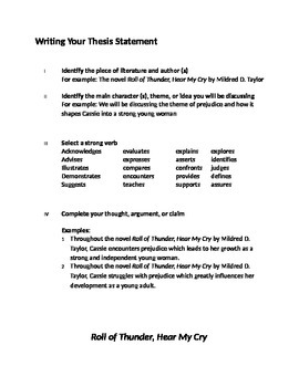 5 Paragraph Essay Tutorial for Roll of Thunder Hear My Cry