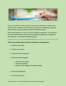 5 Paragraph Essay and Creative Writing Outlines