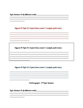 5 Paragraph Essay outline (Pre-write)