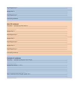 5 Paragraph Expository Essay Organizer