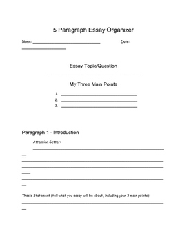 5-Paragraph Expository Essay Organizer