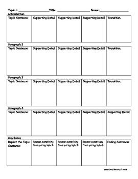 5 Paragraph Graphic Organizer