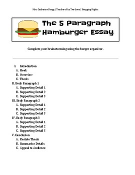 5 paragraph hamburger essay worksheet by bragging rights tpt. Black Bedroom Furniture Sets. Home Design Ideas