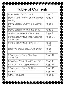 5 Paragraph Informational Essay Writing