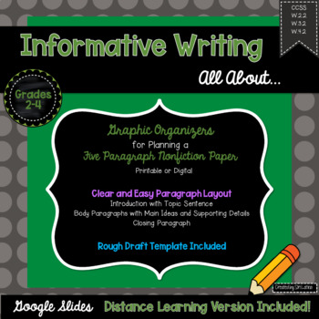 5 Paragraph Informative Writing Graphic Organizer W.3.2