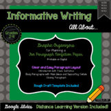 5 Paragraph Informative Writing Graphic Organizer, Distance Learning Included