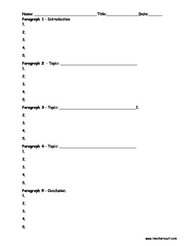 5 Paragraph Outline Graphic Organizer