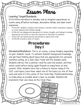 5 Paragraph Personal Narrative Lessons and Printables