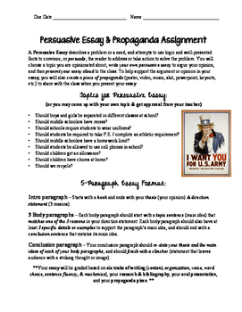 5 Paragraph Persuasive Essay & Propaganda Assignment (with