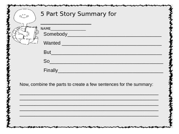 5 Part Fictional Story Summary Template