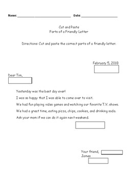 5 Parts of a Letter / Cut and Paste