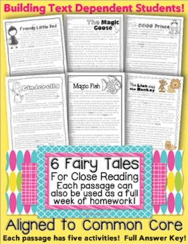 6 Passages for Close Reading, Homework, Assessment {Common Core Aligned TDQ's}