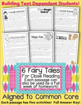 6 Literature Passages Close Reading, HW, Assessments {Common Core Aligned TDQ's}
