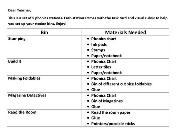 5 Phonics Centers-Task Cards and Visual Rubrics