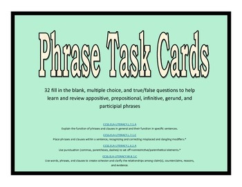 5 Phrase Task Cards: appositive, prepositional, gerund, in