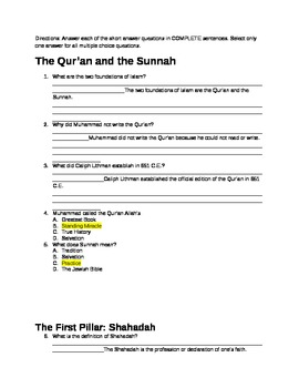 5 Pillars of Islam Test