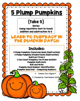 Subtraction: 5 Plump Pumpkins {Subtraction Rhyming Tab Book}