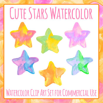 5 Pointed Stars - Handpainted Watercolor Stars Clip Art Set for Commercial Use
