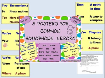 5 Posters / Common Homophones With Definitions/ Common Core Aligned