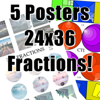 5 Posters -- Math is Beautiful and Fractions are Cool 24 x 36