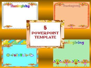 Thanksgiving Writing - Turkey -  5 Editable PowerPoint template