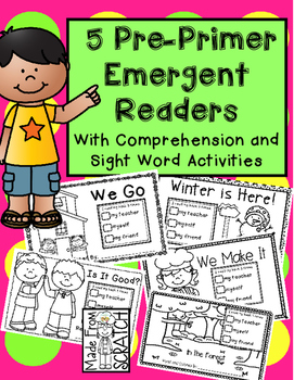5 Pre-Primer Emergent Readers With Comprehension and Sight Word Practice
