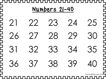 5 Printable Black Border Numbers 1-100 Wall Chart Posters.