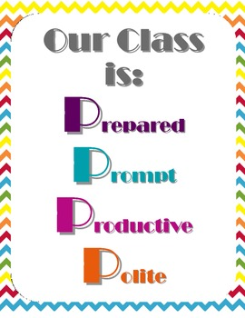 5 Ps Class Rule System - Chevron Style - Posters, Anchor Charts, Cloze Notes