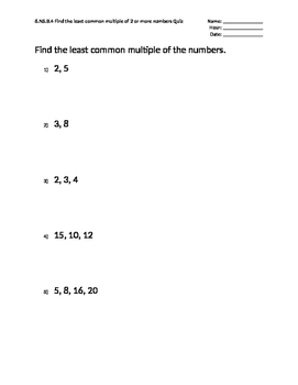5 Question Mastery Quizzes Presents: Least Common Multiple (LCM)