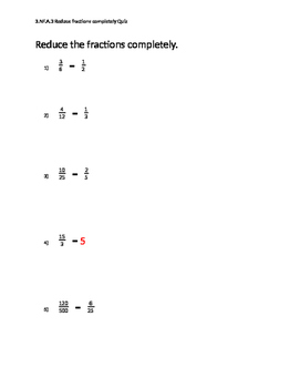 5 Question Mastery Quizzes Presents: Reducing Fractions